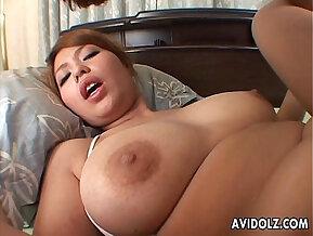 Horny girl masturbates with big tits rides a big cock
