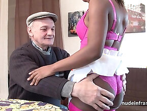 Black monster cock and slut in lingerie hard anal fucked in threeway with Papy voyeur